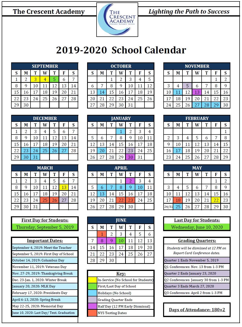 Presidents Day 2020 Calendar.Calendar The Crescent Academy